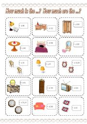 English Worksheets: How much is the ...? How much are the ...? GAME (5) (3 PAGES)