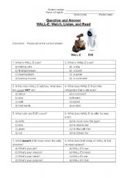 English Worksheets: Wall-e: Watching a Movie - Lesson Plan