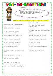 English Worksheets: easy yes no questions