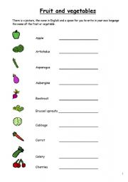 English worksheet: Fruit and Vegetables in English, 3 pages