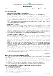 English Worksheet: Test 11th Grade (Portugal) Cool cities - Climate Protection Agreement