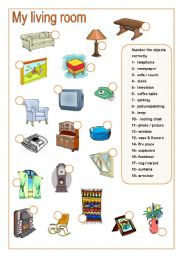 English Worksheets Living Room Matching Part B