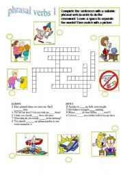 English worksheet: phrasal verbs crossword 1