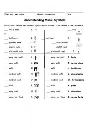 English worksheets: Music: Understanding Music Symbols