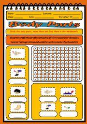 English Worksheet: Body Parts Worksheet