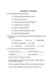 English Worksheets: HEATHERS film worksheet