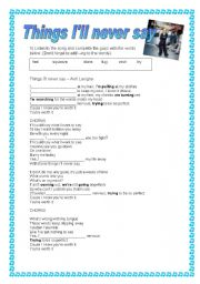 English Worksheet: Things I�ll never say - Avril Lavigne - Song - Present Continuous Practice