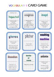 English Worksheet: Vocabulary Card Game (3 pages/24 cards) Instructions included!