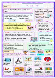 English Worksheet: AN /A /THE