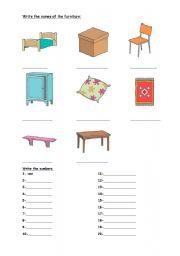 English worksheet: furnitures