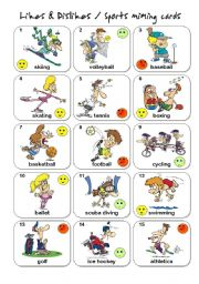 English Worksheet: Likes & Dislikes / Sports Miming cards -set 1