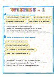 English Worksheet: WISH CLAUSES - 1/2