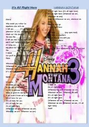 English Worksheet: HANNAH MONTANA SONG2
