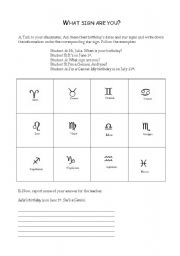 English Worksheets: What sign are you