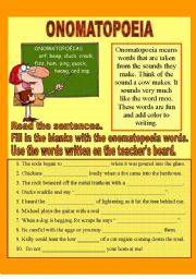 English Worksheet: Onomatopoeias