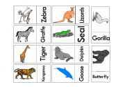 English Worksheets: Animals Domino Game 2 Part