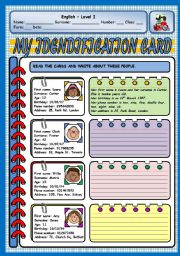 English Worksheet: MY IDENTIFICATION CARD