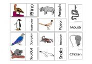 English Worksheets: Animals Domino Game 4 Part