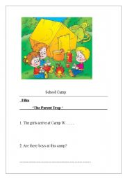 English Worksheets: Parent Trap fils study and camp questions
