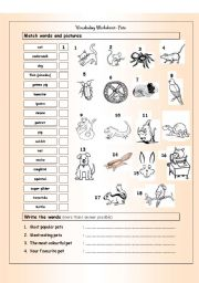 English Worksheet: Vocabulary Matching Worksheet - PETS