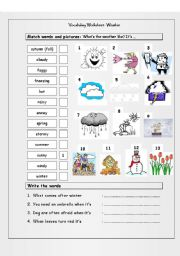 English Worksheet: Vocabulary Matching Worksheet - WEATHER
