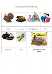 English worksheet: Thanksgiving Picture Dictionary