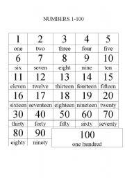 numbers 1-100 - ESL worksheet by marianthi