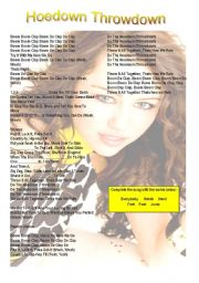 English Worksheet: Hoedown Throwdown - Hannah Montana