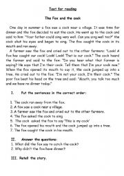 English Worksheets: The Fox and the cock
