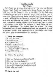 English Worksheets: Text_Mark Twain