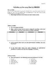 English Worksheets: Listening Activities for EMINEM�s song