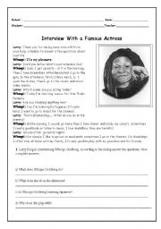 English Worksheets: Woopi Goldberg Interview