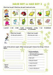 English Worksheet: HAVE GOT or HAS GOT 2