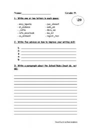 English Worksheets: writing exam for grade 9