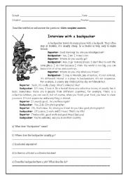 English Worksheets: Backpackers´ Interview