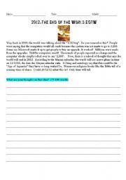 English Worksheets: Writing Prompt-2012 EOTW