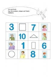 English worksheet: shapes , numbers and family members