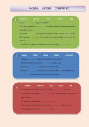 English Worksheets: words often confused