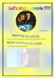 English Worksheets: Video time! GATTACA (Extract # 2): COMPREHENSIVE PROJECT (8 PAGES, 25 TASKS) ( Complete ANSWER KEY)