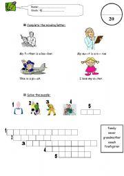 English Worksheets: writing exam for grade 4