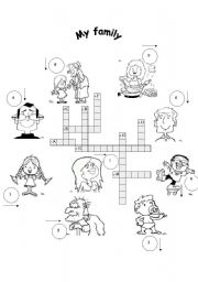 English Worksheet: FOR BEGINNERS:   My family crosswords+key