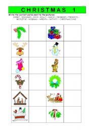 English worksheet: Christmas vocabulary worksheet 1/2