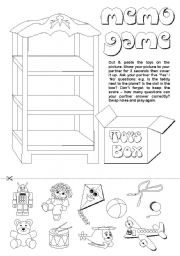English Worksheets: Toys Memo Game (2/2)