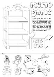 English Worksheet: Toys Memo Game (2/2)