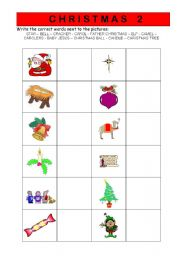 English worksheet: Christmas vocabulary  worksheet 2/2