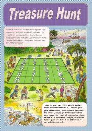 English Worksheet: Giving Directions WS 6  - Treasure Hunt