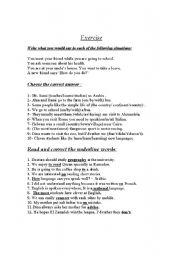 English Worksheet: language functions,grammar and vocabulary test