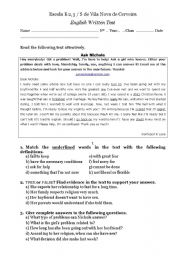 English Worksheet: Test - Problem Page (teens problems)