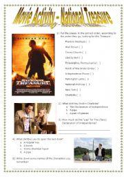 English Worksheet: National Treasure Movie Activity + KEYS