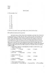 English worksheets simple test 7th grade